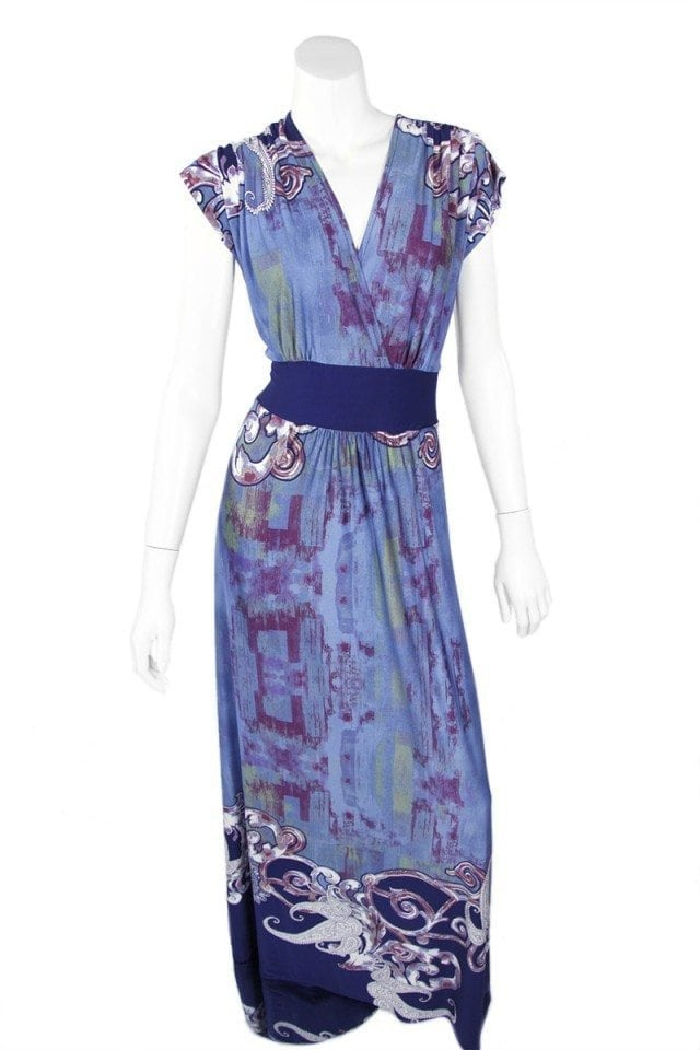Blue Green Painting Veronica Lake Maxi Dress