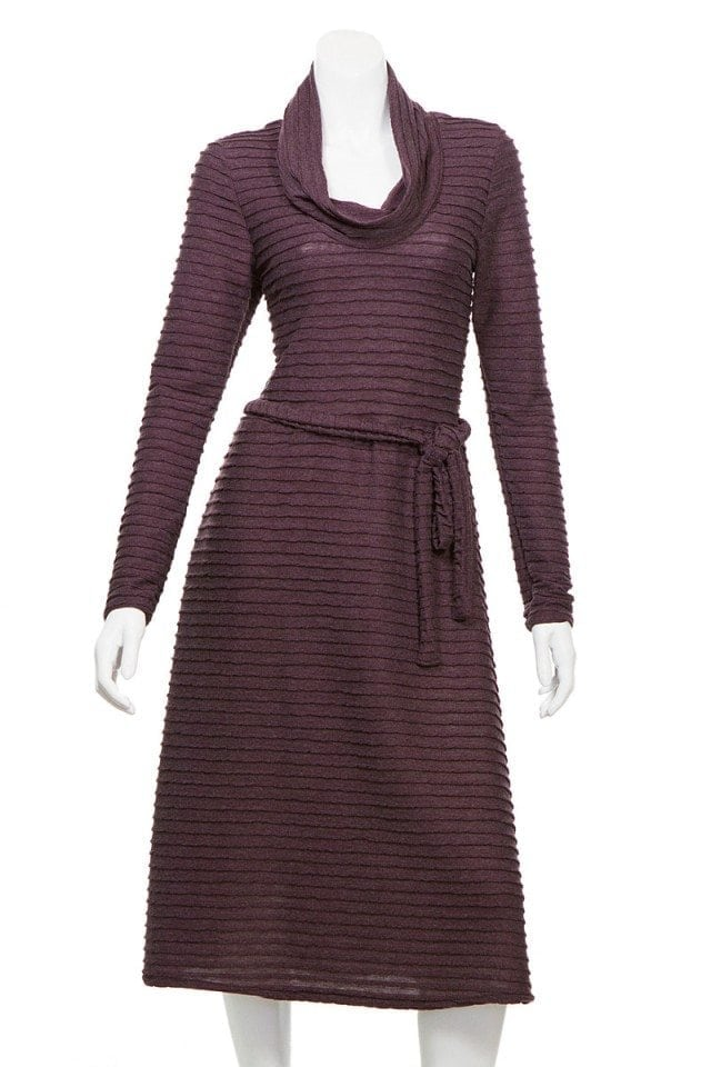 Ribbed Bamboo Turtle Neck Dress