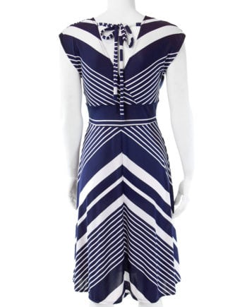 White and navy chevron Veronica Lake