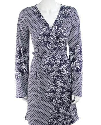 Floral border print wrap dress