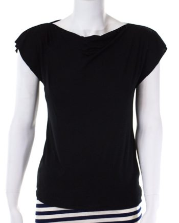 Plain Black Cowl Neck Top